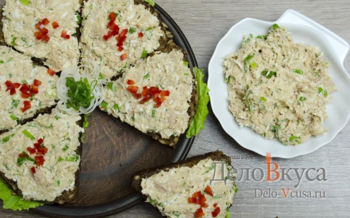 Бутерброды с тунцом, яйцом и зеленым луком
