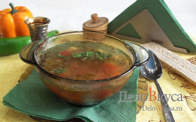 Суп с фрикадельками и яйцом на мясном бульоне