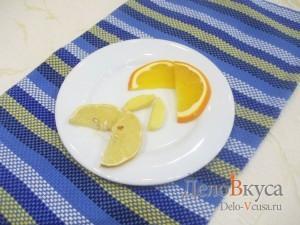 Глинтвейн: Подготовить лимон, имбирь и апельсин