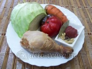 Тушеная капуста с копченым мясом: Ингредиенты