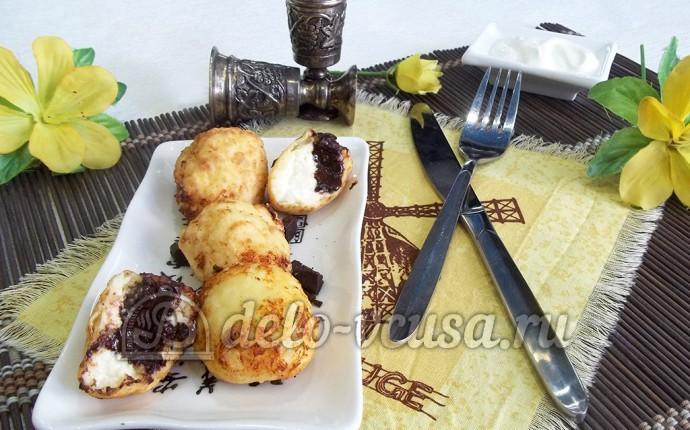 Творожные пончики с шоколадом