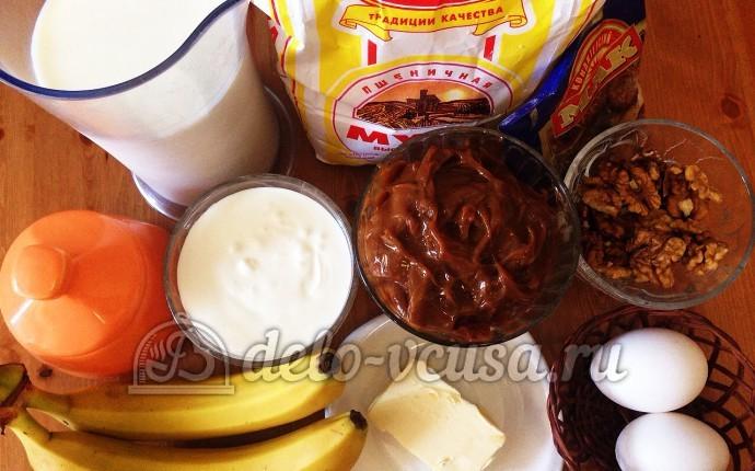 Блинный торт со сгущенкой и бананами: Ингредиенты