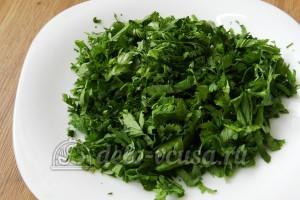 Свинина с овощами в духовке: Зелень мелко порубить