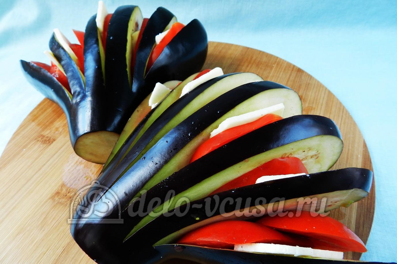 фаршированные баклажаны веером в духовке