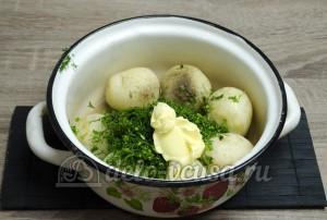 Молодая картошка с укропом: Добавляем заправку