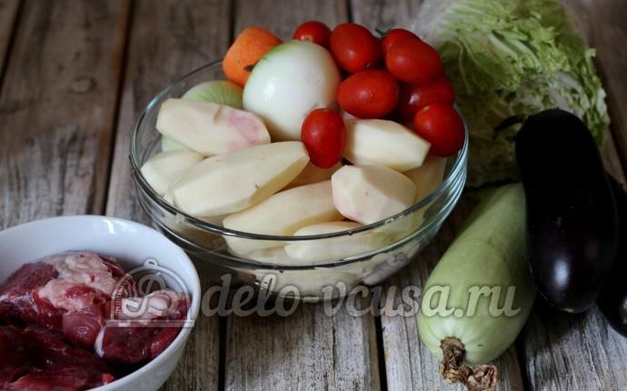 Тушеные овощи с мясом: Ингредиенты