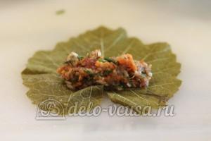 Долма из баранины: На виноградные листья выкладываем начинку