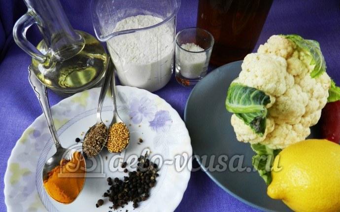Цветная капуста в остром кляре: Ингредиенты