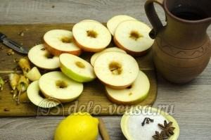 Яблоки в сиропе: Разрезать яблоки колечками