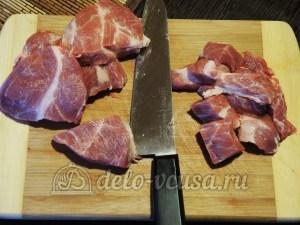 Чанахи: Мясо порезать на кусочки