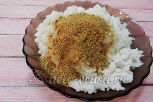Рисовые крокеты: Добавить молотые сухари