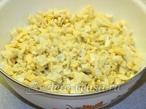 Слойки с яйцом и рисом: Подготовить начинку