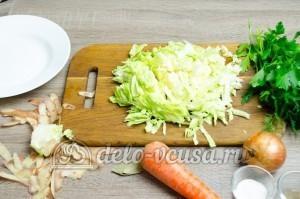 Щи из свежей капусты: Порезать капусту соломкой