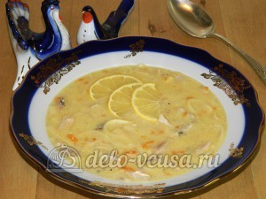 Куриный суп с лимоном: Подавать с лимоном и укропом