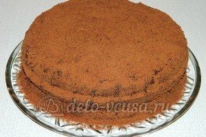 Бисквитный торт с черносливом: Посыпать шоколадной крошкой