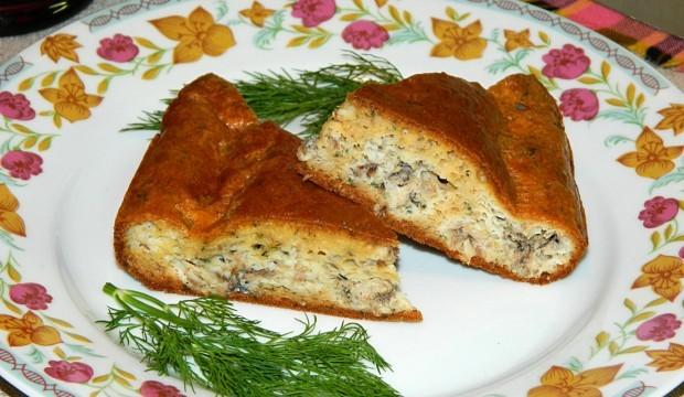 Заливной пирог с рисом и консервой рецепт