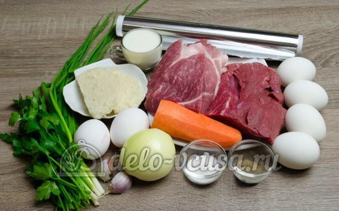 Мясной рулет с яйцом: Ингредиенты