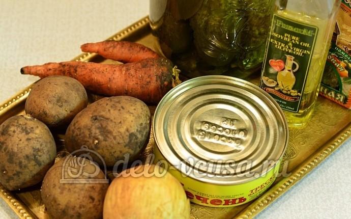 Салат с печенью трески и овощами: Ингредиенты