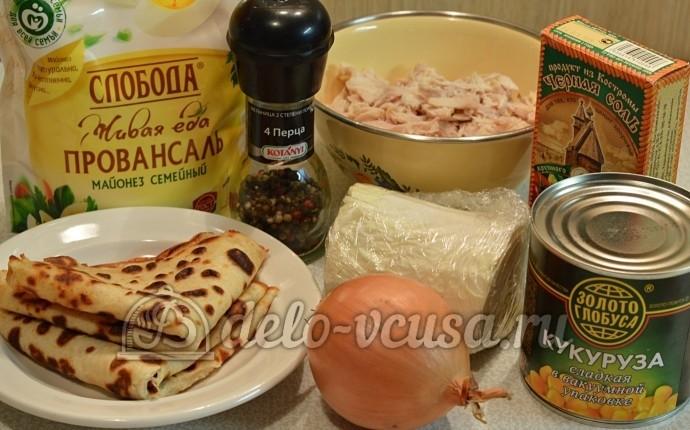 Салат с блинами и курицей: Ингредиенты