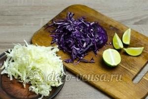 Лаваш с курицей: Порезать капусту