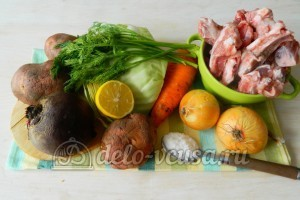 Борщ с ребрышками: Ингредиенты