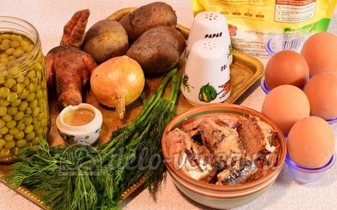 Салат из рыбных консервов: Ингредиенты