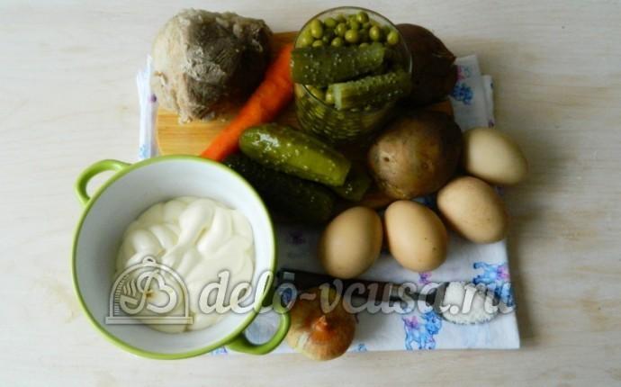 Оливье с мясом: Ингредиенты