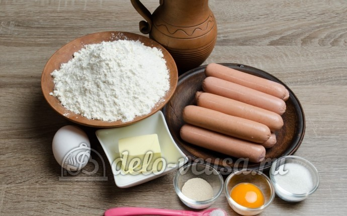 Сосиски в дрожжевом тесте: Ингредиенты