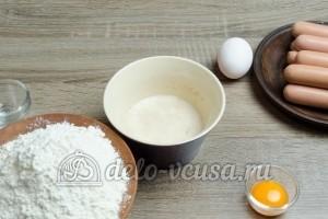 Сосиски в дрожжевом тесте: Дрожжи развести в молоке