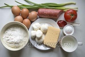 Блины с колбасой, сыром и помидорами: Ингредиенты