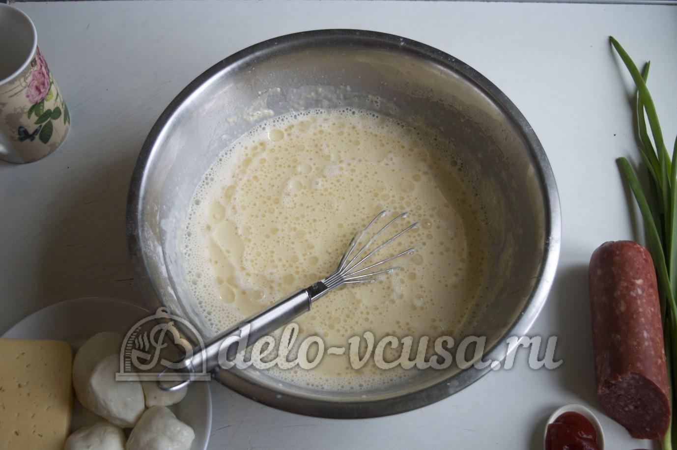 блинчики с колбасой и сыром соусом рецепт
