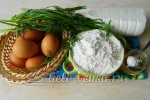 Блины с яйцом и зеленым луком: Ингредиенты