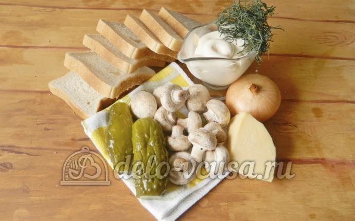 Бутерброды с шампиньонами и сыром: Ингредиенты