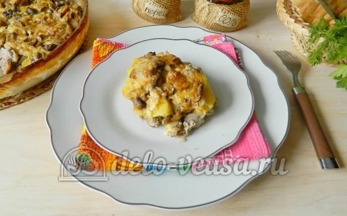 Картофельная запеканка с мясом и грибами: