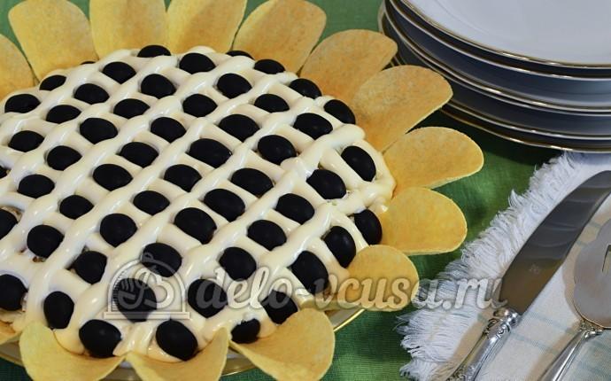 Салат Подсолнух с печенью трески