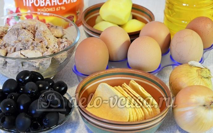 Салат Подсолнух с печенью трески: Ингредиенты