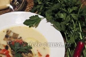Суп из шампиньонов с плавленным сыром
