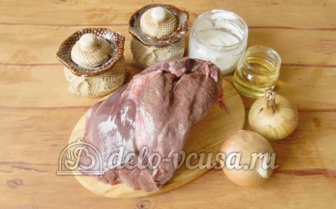 Печень свиная тушеная в сметане: Ингредиенты
