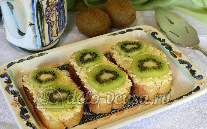 Рецепт бутерброды с киви и сыром