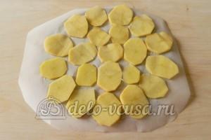 Картофельные чипсы в микроволновке: Кладем ломтики картошки на тарелку