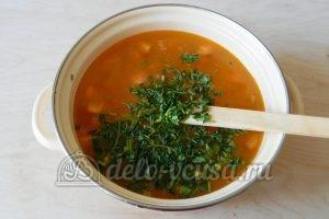 Овощной суп с рисом: Добавить петрушку