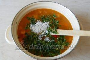 Овощной суп с рисом: Добавить рис