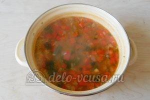 Овощной суп с рисом: Варим суп