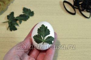 Пасхальные яйца с листочками: Подготовить зелень