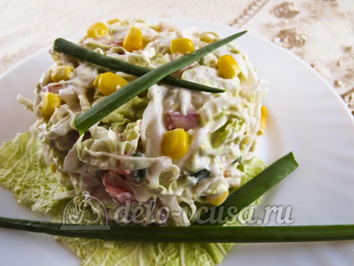 Салат из пекинской капусты и кукурузы