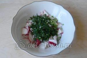 Салат из редиски и зелени: Заправить салат