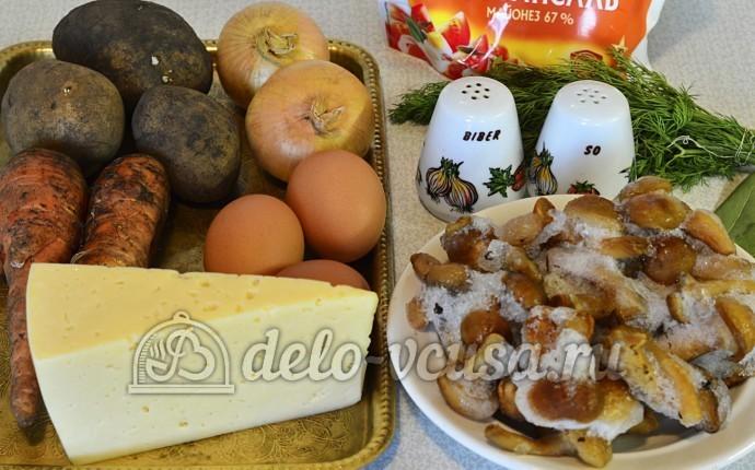 Салат с опятами и сыром: Ингредиенты