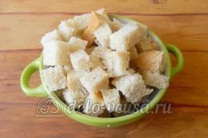 Сухарики с горчицей: Порезать хлеб
