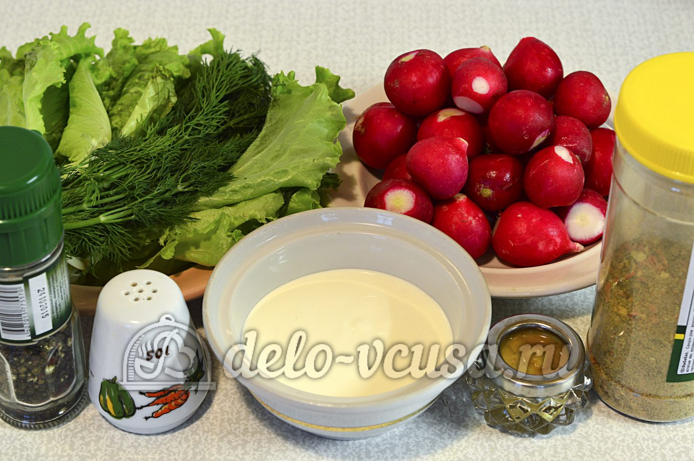 редиска со сметаной салат рецепт