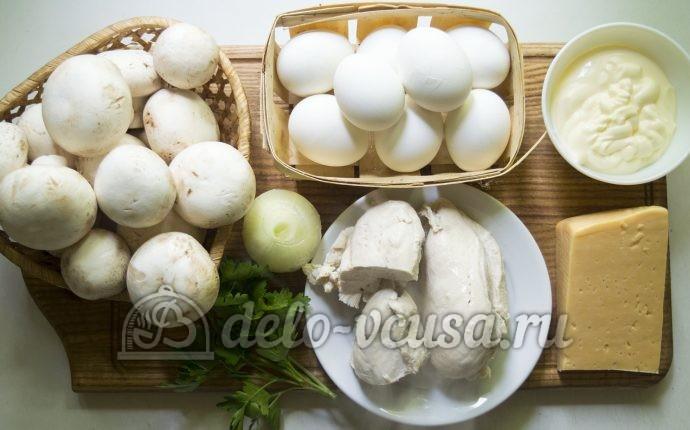 Салат Курочка ряба с грибами: Ингредиенты